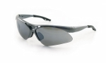 SAS - 540-0113 - Diamondback Eyewear with Clamshell, Smoke Mirror Lens/Silver Frame